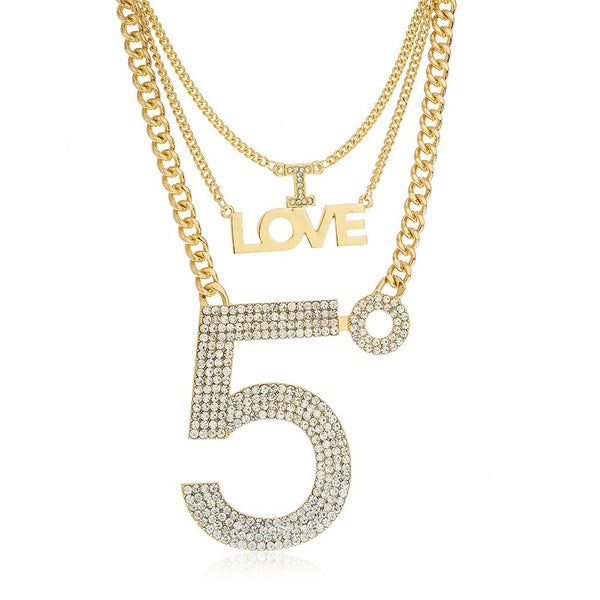 Goldtone Three Layered Iced Out I Love Number 5 Pendant Necklace