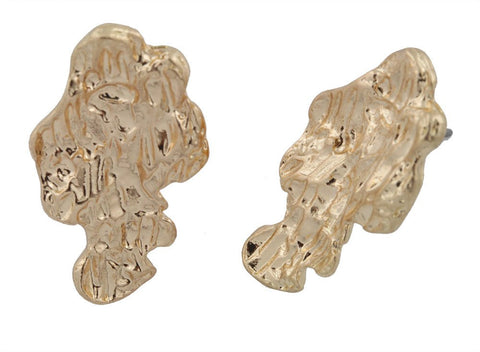 Goldtone Tone Nugget Stud Earrings