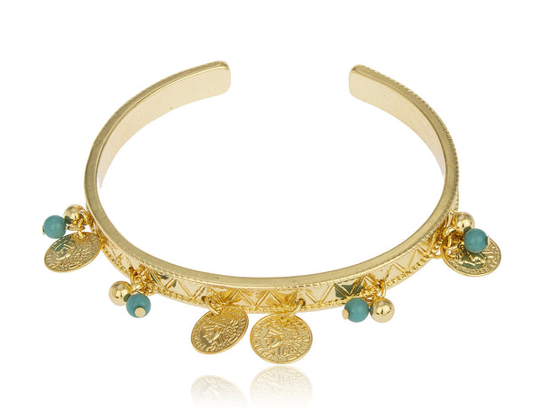 Goldtone Turquoise And French Republic Themed Arm Cuff