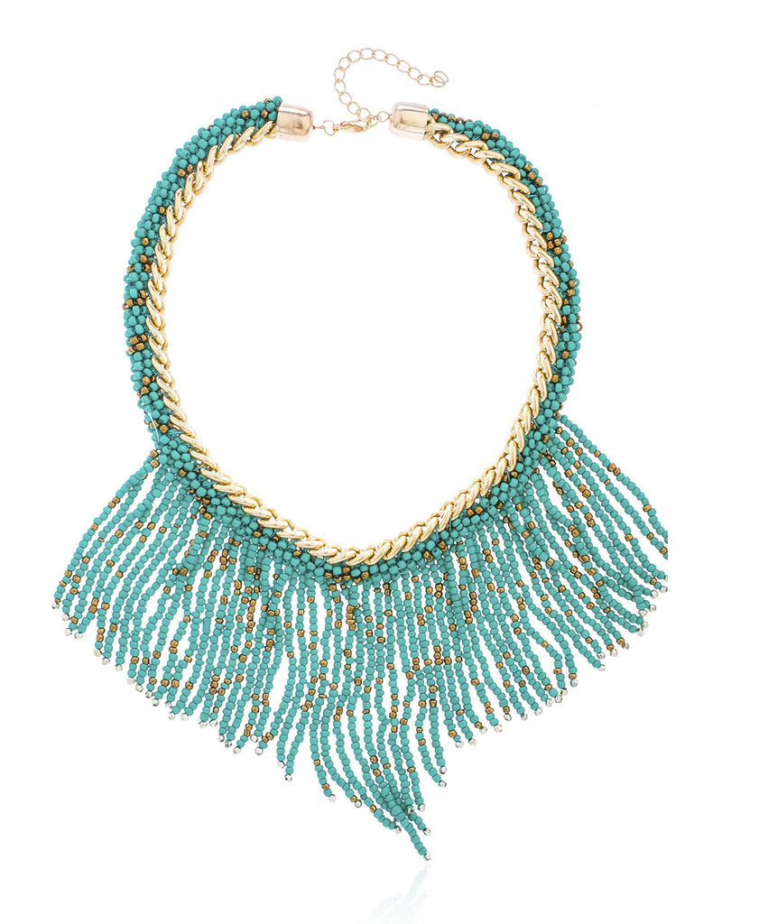 Goldtone Turquoise Beaded Tassel Necklace