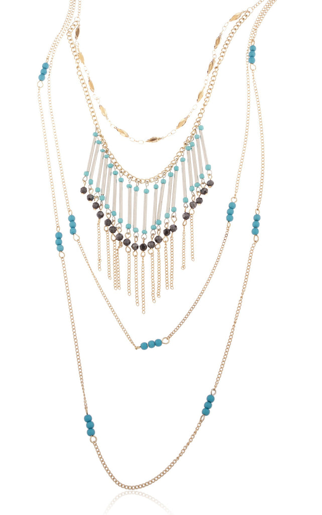 Goldtone Turquoise Multi Layered With Beads...