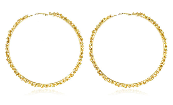 Goldtone Twisted Cuban Bead Chain Large 4 Inch Hoop Earrings