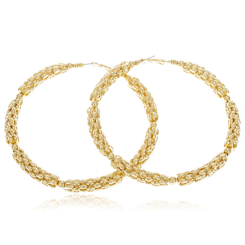Goldtone Twisted Mesh With Bead Large 4 Inch Hoop Earrings