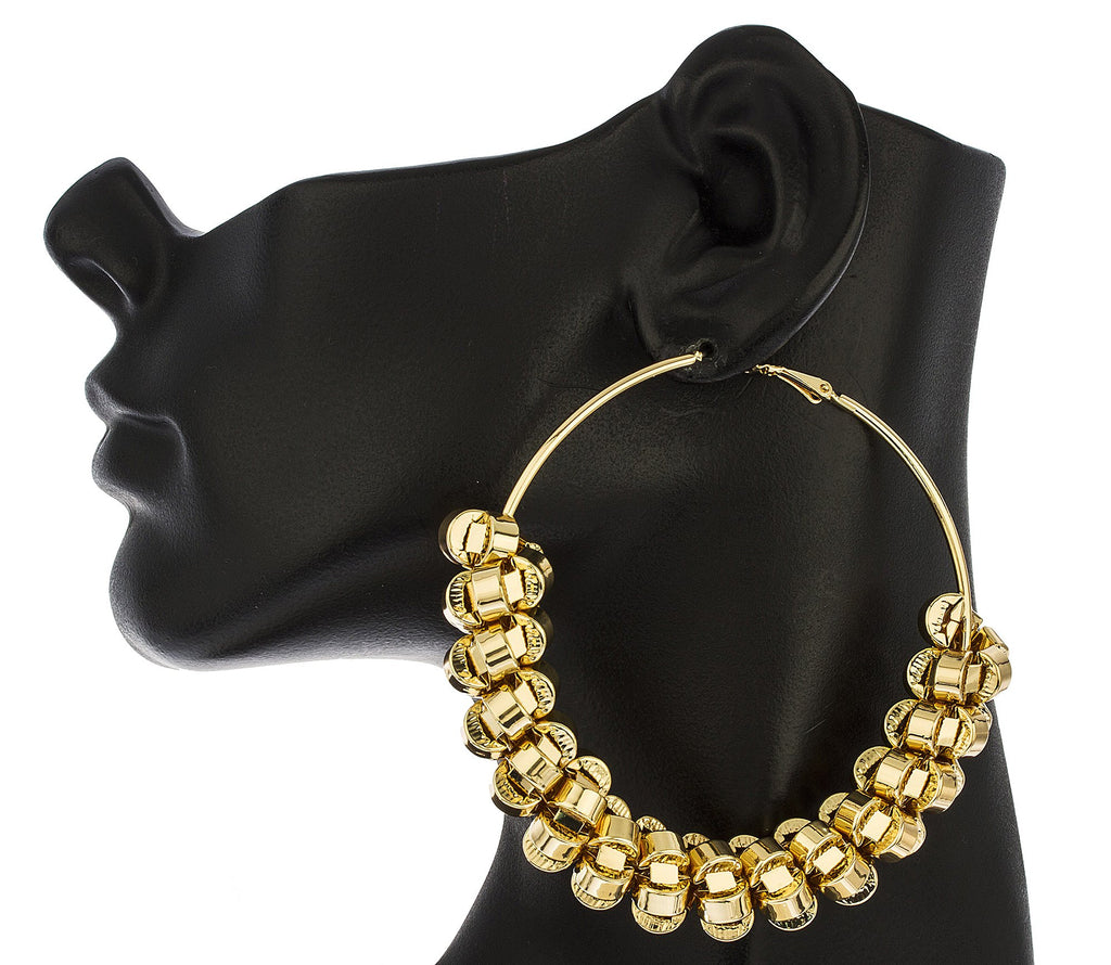 Goldtone Twisted Nuggets Wrapped Around Large...