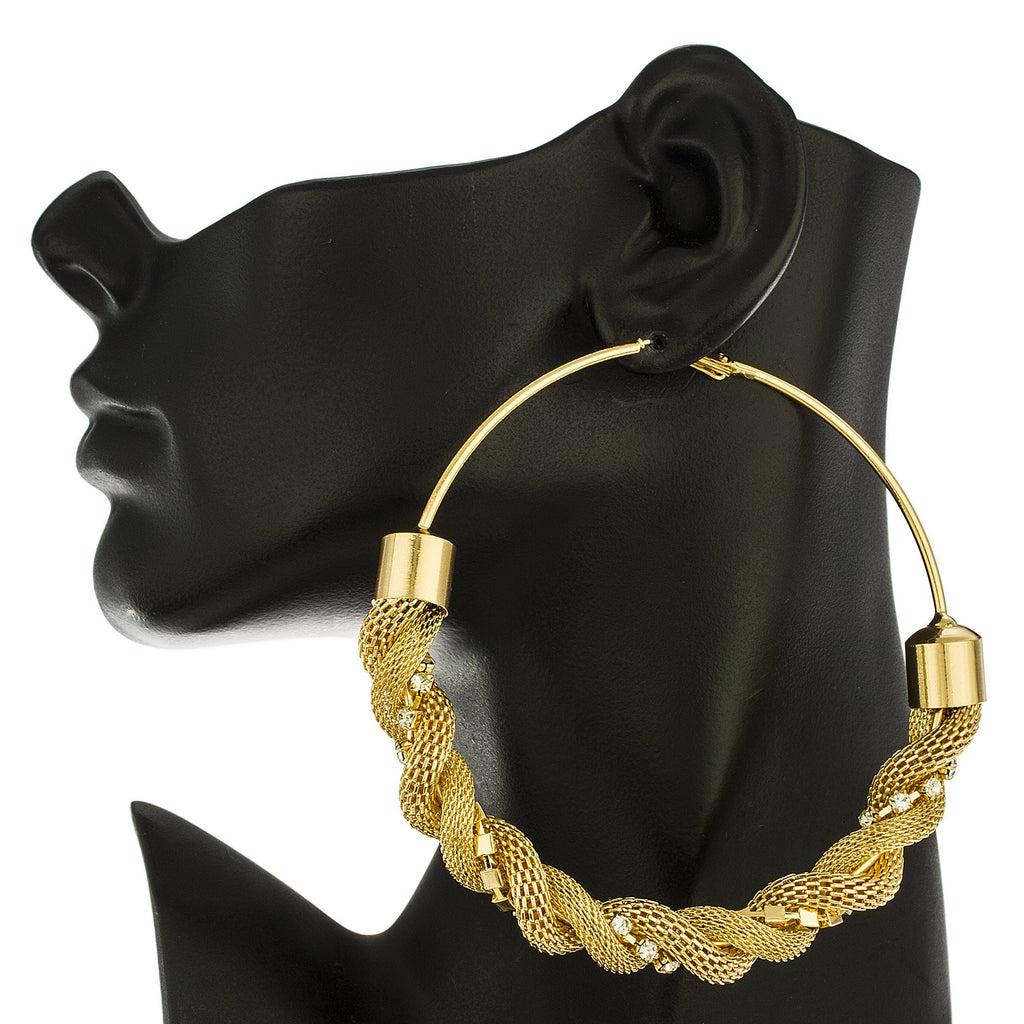 Goldtone Twisted Thick Mesh Rhinestone 4...