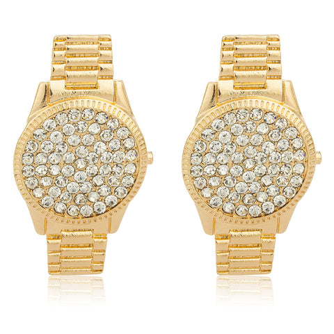 Goldtone Watch Design Earrings With Stones