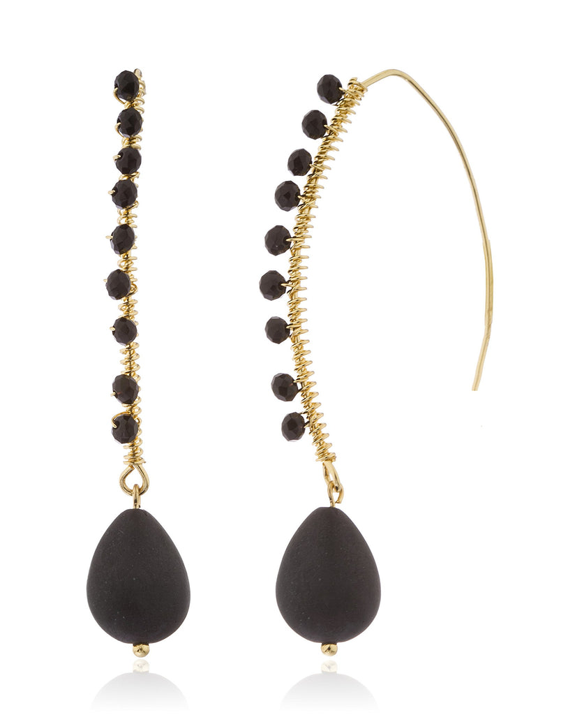 Goldtone Wired Dangle Earrings With Stones...