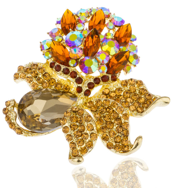 Goldtone With Amber And Clear AB Iced Out Flower Brooch And Pin Pendant
