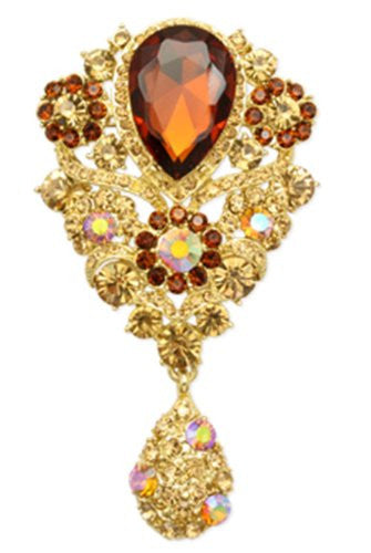 Goldtone With Amber Iced Out Flowers And Inverted Tear Drop Brooch