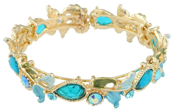 Goldtone With Aqua Tear Drops And Light Blue Leaves Bangle Bracelet