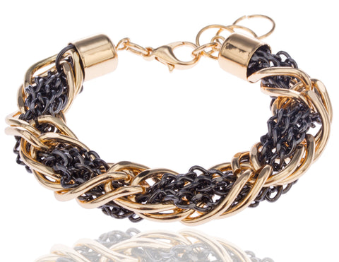 Goldtone With Black 13mm 7-8 Inch Adjustable Rolo/Wheat Chain Hybrid Style Bracelet