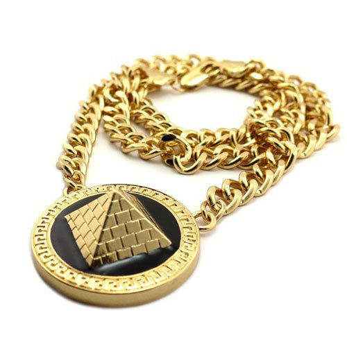 Goldtone With Black 3D Style Pyramid...