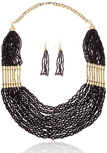Goldtone With Black Braided Bead Necklace...