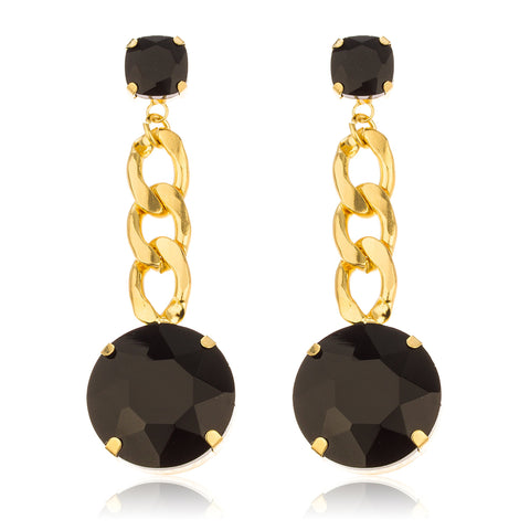 Goldtone With Black 'Crystal Clear' 3 Inch Cuban Design Drop Earrings