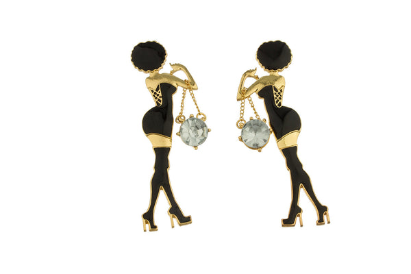Goldtone With Black Women Posing Stud Earrings With Dangling Stone