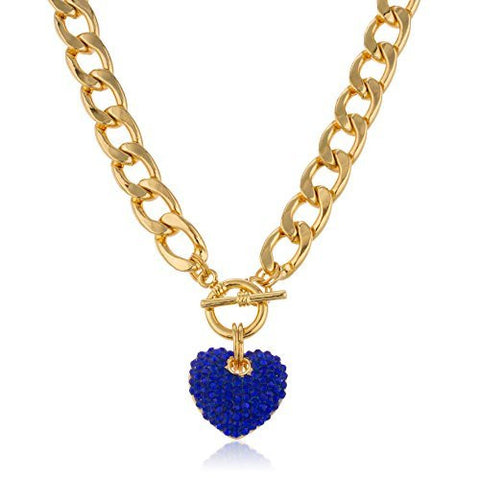 Goldtone With Blue Iced Out 3D Heart Pendant With A 16 Inch Link Chain Necklace