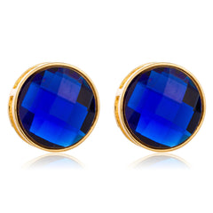 Goldtone With Blue Large 'Crystal Clear' Round Cylinder Earrings