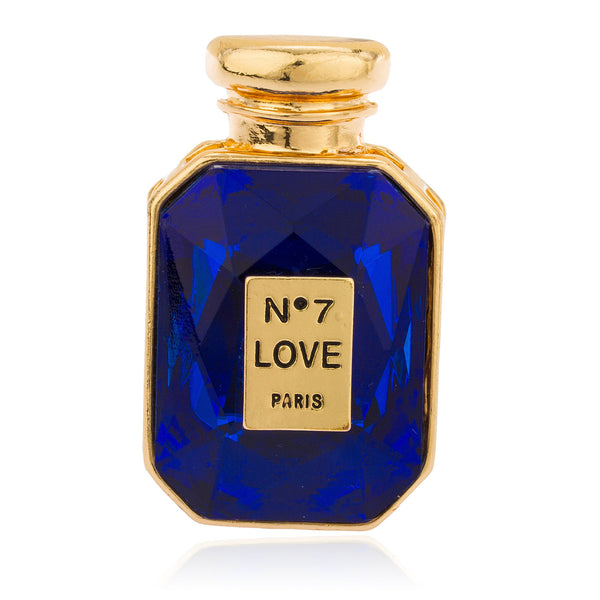 Goldtone With Blue Stone No7 Love Potion Perfume Bottle Stretch Ring
