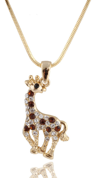 Goldtone With Brown Iced Out Giraffe Pendant With A 16 Inch Snake Franco Necklace Chain