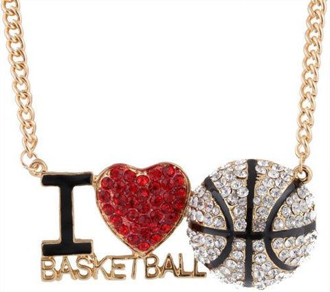 Goldtone With Clear And Red 3D I Heart Basketball Pendant With An 18 Inch Adjustable Snake Franco Chain Necklace