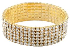 Goldtone With Clear Bridal Six Row Iced Out Elastic Stretch Bracelet