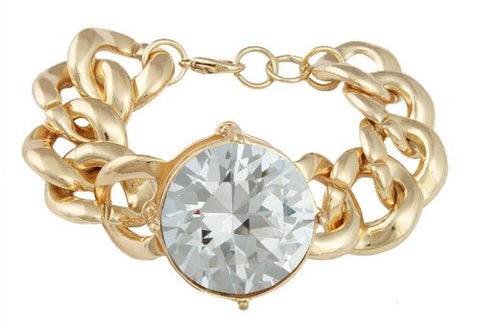 Goldtone With Clear Extra Large Multifaceted Stone Circle 8 Inch Bracelet