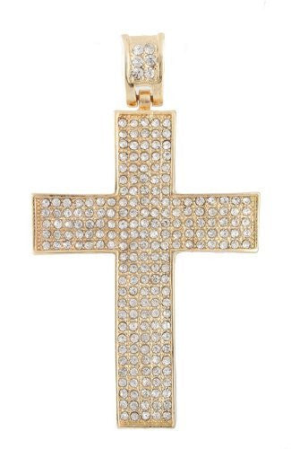 Goldtone With Clear Iced Out 3D Smooth Cross Pendant