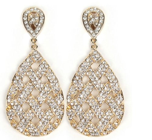 Goldtone With Clear Iced Out Basket Weaved Teardrop Shaped 3.25 Inch Dangle Clip On Earrings