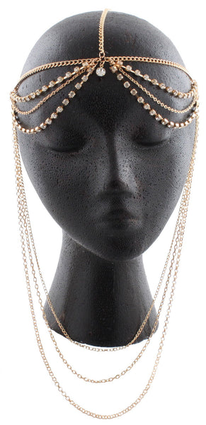 Goldtone With Clear Iced Out Double Row With Dangling Chains Adjustable Head Chain