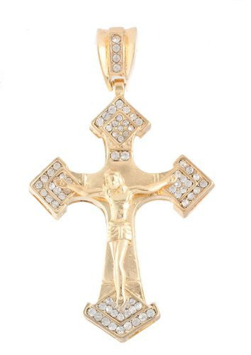 Goldtone With Clear Iced Out Jesus...