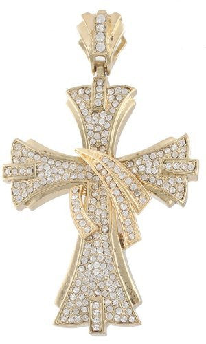 Goldtone With Clear Iced Out Twirl Cross Pendant