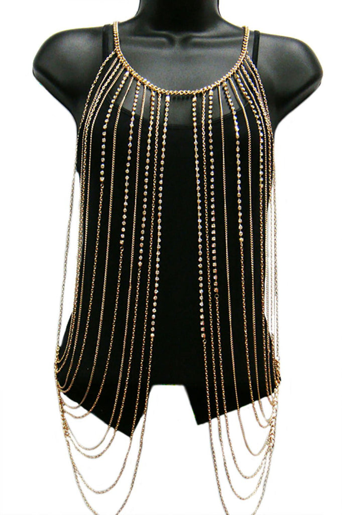 Goldtone With Clear Iced Out Vest...