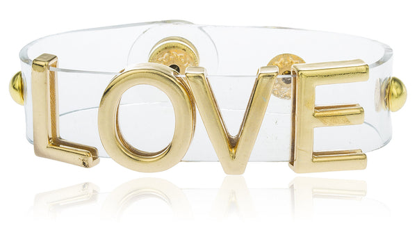 "Goldtone With Clear ""Love"" 8 Inch Adjustable Snap Bracelet"