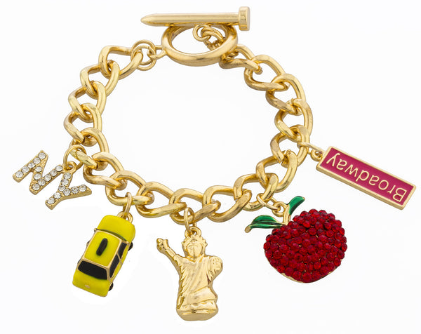 Goldtone With Clear Rhinestones Big Apple-themed 8 Inch Cuban Chain Bracelet