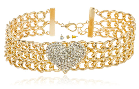 Goldtone With Clear Stones 15-18 Inch Adjustable Length Heart Style Choker Necklace And Matching Earrings Jewelry Set