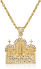 Goldtone With Clear Stones Last Supper Pendant With A Rope Chain