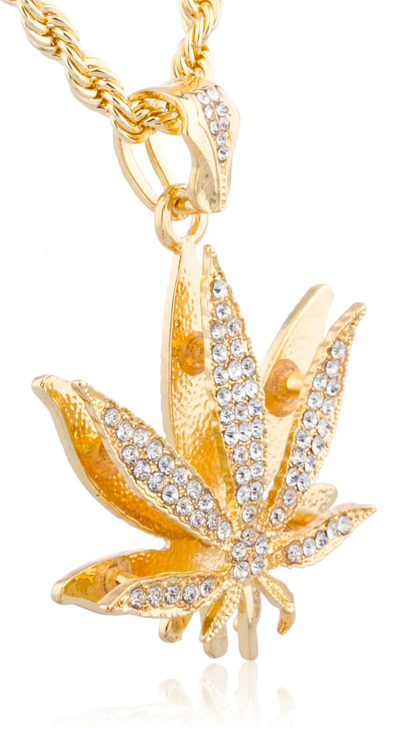 Goldtone With Clear Stones Marijuana Pendant...