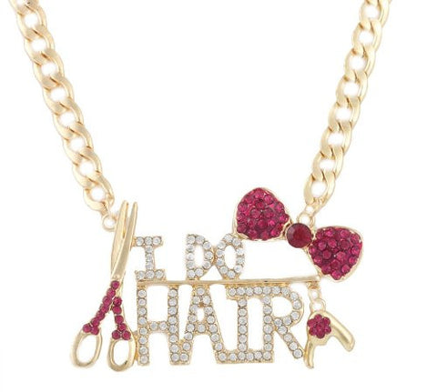 Goldtone With Fuchsia Bow Tie And I Do Hair Pendant With A 22 Inch Adjustable Link Necklace