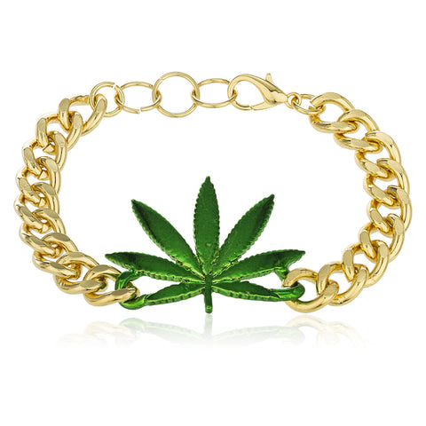 Goldtone With Green Marijuana Leaf Adjustable 8 Inch Miami Cuban Bracelet