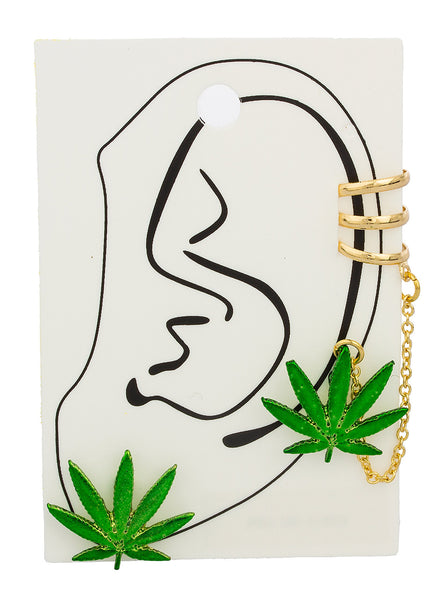 Goldtone With Green Marijuana Leaf Ear Cuff And Ear Lobe Earrings With Link Chain