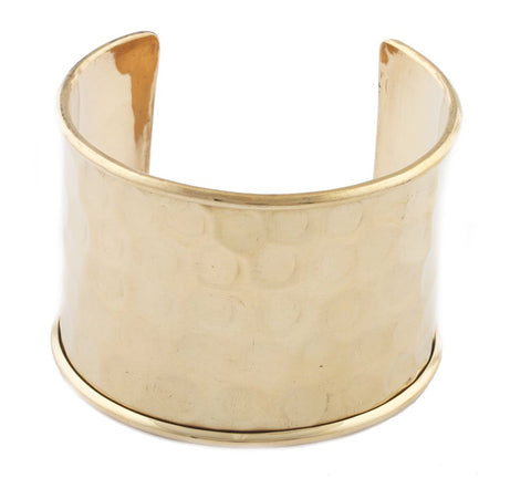 Goldtone With Indented Hammered Design Adjustable Cuff Bangle