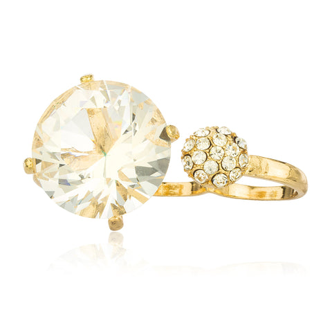 Goldtone With Large Crystal And Round Stone Three Finger Ring