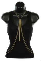 Goldtone With Layered Strands And Single Middle Tassel Links Body Chain