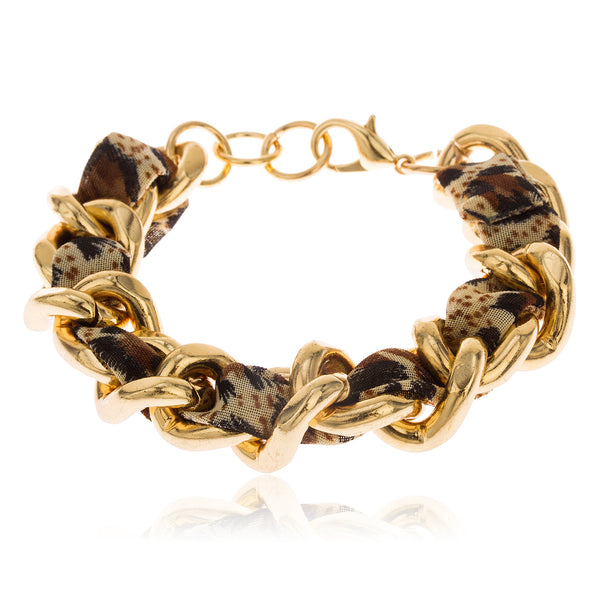 Goldtone With Leopard Print Design 7 Inch Adjustable Braided Fabric Cuban Link Bracelet