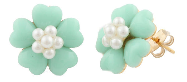 Goldtone With Mint Hearts And Simulated Pearls Flower Shaped Stud Earrings