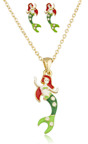 Goldtone With Multicolor Mermaid Pendant With Stones And An 18 Inch Link Necklace And Matching Earrings Jewelry Set