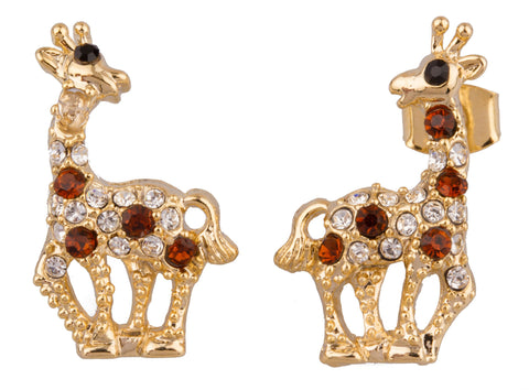 Goldtone With Multicolors Giraffe Stud Earrings