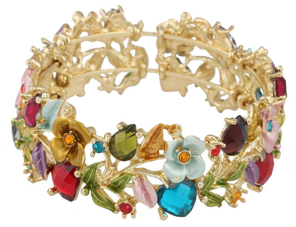 Goldtone With Multicolors Hearts And Roses Bangle Bracelet