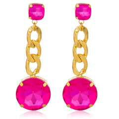Goldtone With Pink 'Crystal Clear' 3 Inch Cuban Design Drop Earrings