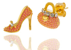 Goldtone With Pink Stiletto And Purse Stud Earrings